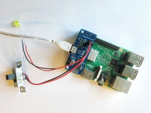 PowerBlock attached to RPi Model B with toggle switch and status LED