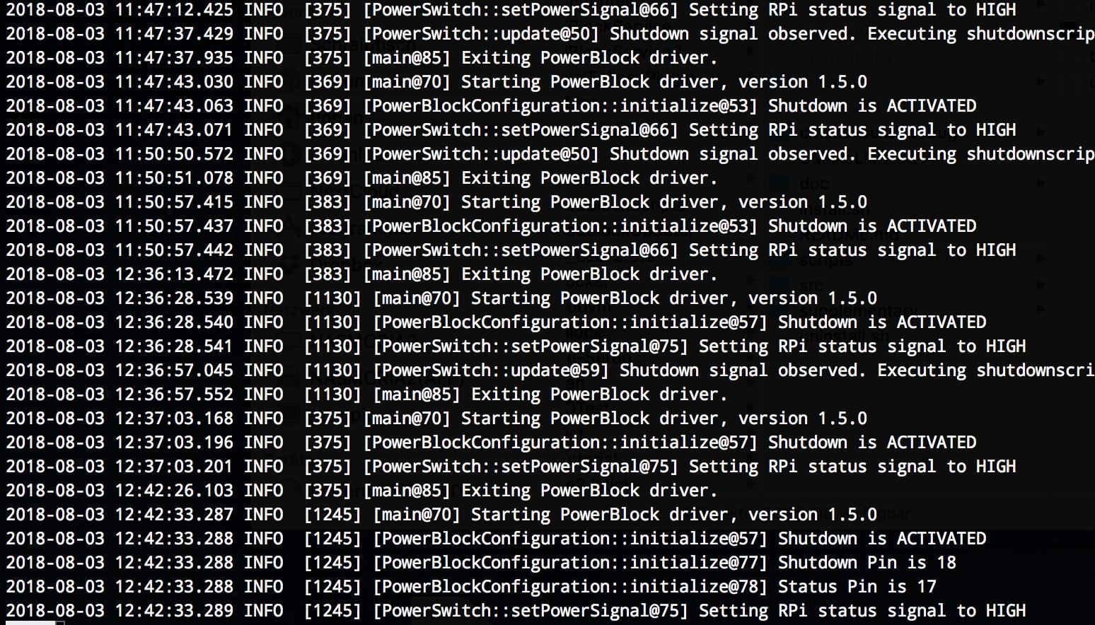 PowerBlock Logging Messages