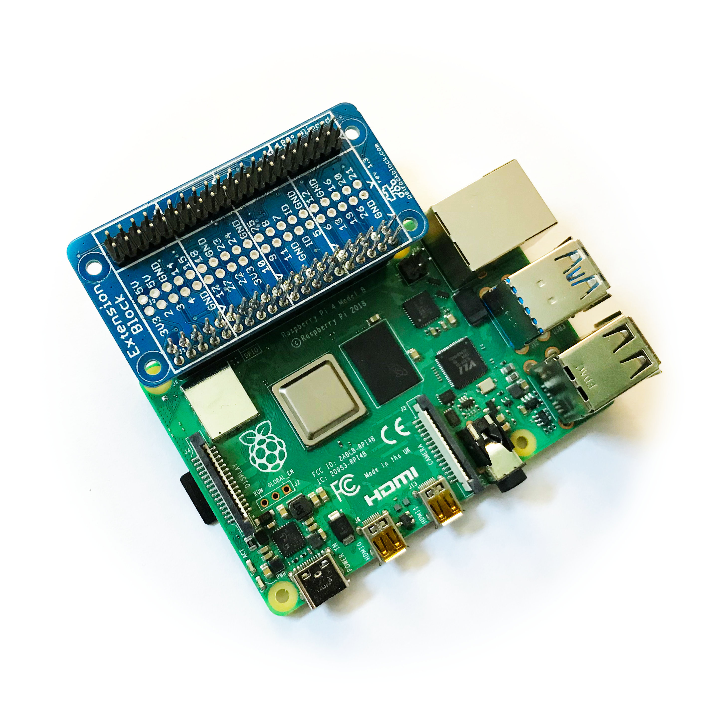 ExtensionBlock attached to Raspberry Pi