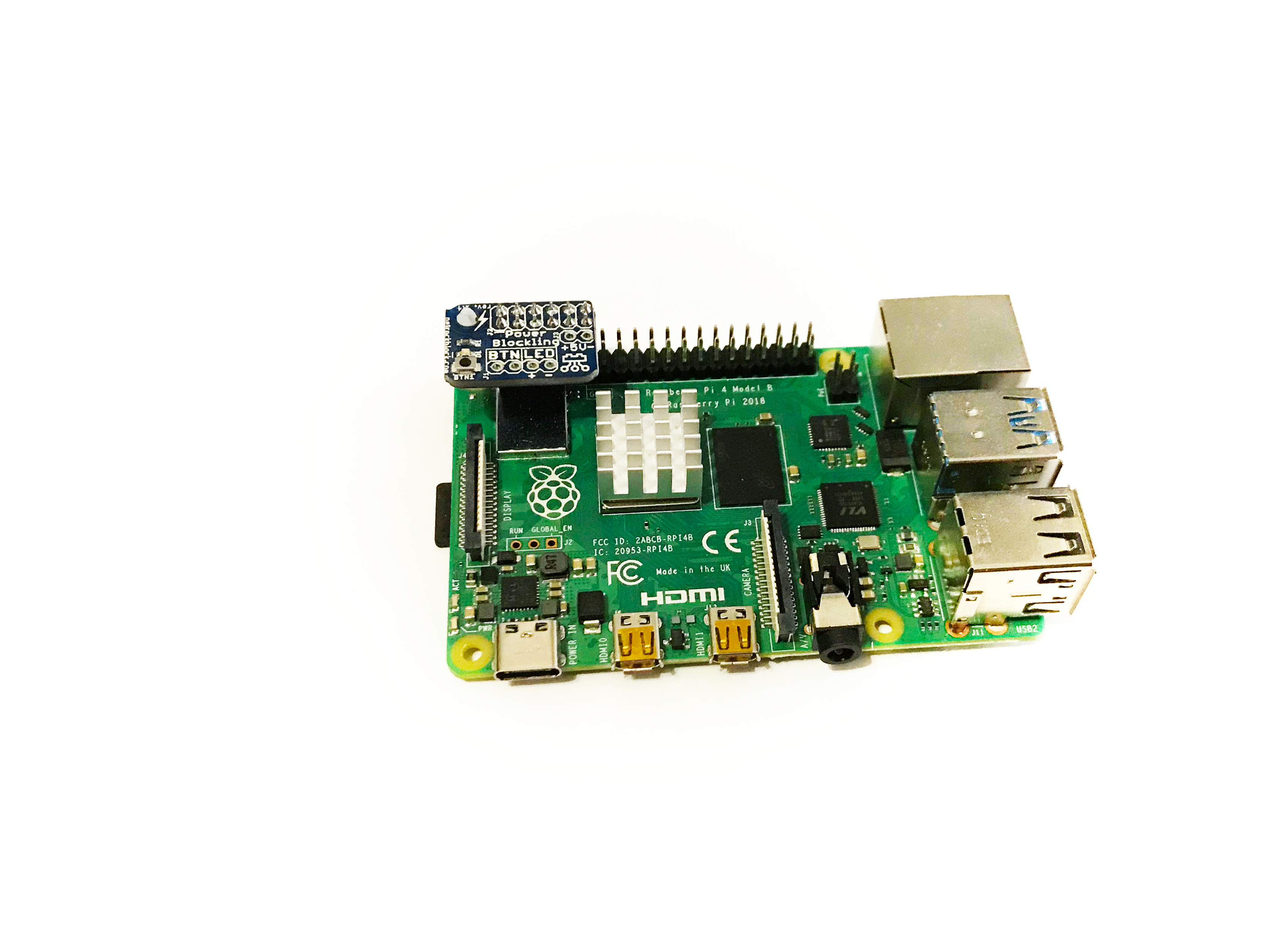 PowerBlockling attached to Raspberry Pi